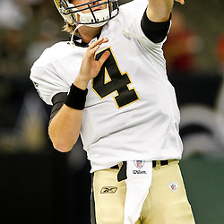 August 12, 2011; New Orleans, LA, USA;  New Orleans Saints quarterback Sean Canfield (4) prior to kickoff of a preseason game against the San Francisco 49ersat the Louisiana Superdome. Mandatory Credit: Derick E. Hingle