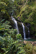 Waikani Falls, AKA Three Bears, Hana Road, Maui, Hawaii