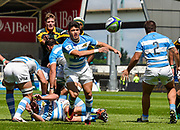 Argentina scrum-half Lautaro Bazan Velez throws a pass during the World Rugby U20 Championship 3rd Place play-off  match Argentina U20 -V- South Africa U20 at The AJ Bell Stadium, Salford, Greater Manchester, England on Saturday, June 25, 2016.(Steve Flynn/Image of Sport)