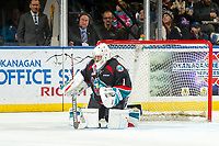 KELOWNA, CANADA - DECEMBER 1: James Porter #1 of the Kelowna Rockets defends the net against the Saskatoon Blades on December 1, 2018 at Prospera Place in Kelowna, British Columbia, Canada.  (Photo by Marissa Baecker/Shoot the Breeze)