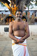 KADIRI, INDIA - 03rd November 2019 - Portrait of holy Hindu devotee at Kadiri temple, Andhra Pradesh, South India.