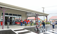 A crowd enters the newly rebuilt mart during the grand reopening of the Columbus Farmers Market Saturday May 21, 2016 in Columbus, New Jersey. (Photo by William Thomas Cain)