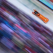 Winter Olympics, Vancouver, 2010.The Netherlands One team of Edwin van Calker and Sybren Jansma in action during the Bobsleigh Two man competition at Whistler Sliding Centre, Whistler, during the Vancouver Winter Olympics. 21th February 2010. Photo Tim Clayton