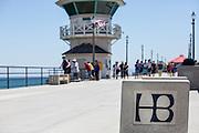 People Walking on the Huntington Beach Pier at Summer