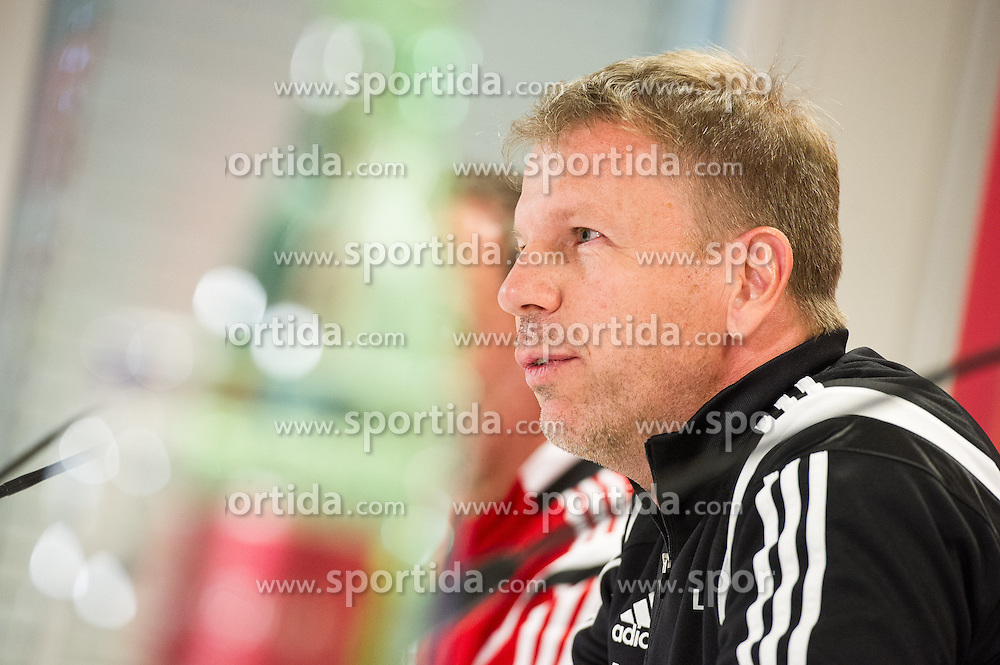 11.10.2015, Ernst Happel Stadion, Wien, AUT, UEFA Euro Qualifikation, Oesterreich vs Lichtenstein, Gruppe G, Pressekonferenz Lichtenstein, im Bild Trainer Rene Pauritsch (LIE) // during the press conference of Lichtensein National footbalteam prior to the UEFA EURO 2016 qualifier group G match between Austria and Lichtenstein at the Ernst Happel Stadion in Wien, Montenegro on 2015/10/11. EXPA Pictures © 2015, PhotoCredit: EXPA/ Michael Gruber