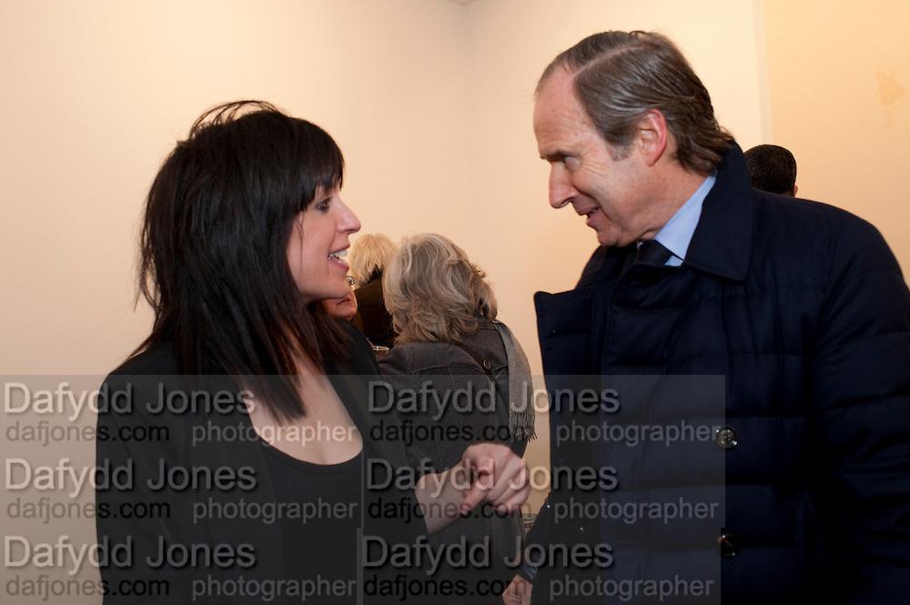 JENNIFER RUBELL; SIMON DE PURY; 'Engagement' exhibition of work by Jennifer Rubell. Stephen Friedman Gallery. London. 7 February 2011. -DO NOT ARCHIVE-© Copyright Photograph by Dafydd Jones. 248 Clapham Rd. London SW9 0PZ. Tel 0207 820 0771. www.dafjones.com.