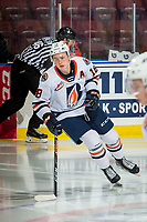 KELOWNA, BC - OCTOBER 12: Connor Zary #18 of the Kamloops Blazers of the Kamloops Blazers warms up on the ice against the Kelowna Rockets at Prospera Place on October 12, 2019 in Kelowna, Canada. (Photo by Marissa Baecker/Shoot the Breeze)