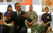 Edinburg, TX - 22 Feb 2008 -.Sen. Barack Obama answers questions from local college students in a discussion held at UTPA's visitor center before his campaign rally on Friday morning.