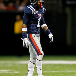 September 22, 2012; New Orleans, LA, USA; Ole Miss Rebels defensive back Dehendret Collins (1) against the Tulane Green Wave during a game at the Mercedes-Benz Superdome. Ole Miss defeated Tulane 39-0. Mandatory Credit: Derick E. Hingle-US PRESSWIRE