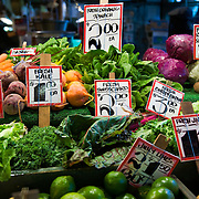 Fresh organic produce at  high stall, at the Pike Place Market, Seattle, Washington