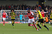 Fleetwood Town forward Shola Ameobi on the attack during the Sky Bet League 1 match between Burton Albion and Fleetwood Town at the Pirelli Stadium, Burton upon Trent, England on 12 March 2016. Photo by Aaron  Lupton.