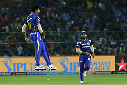April 22, 2018 - Jaipur, Rajasthan, India - Mumbai Indians bowler Jasprit Bumrah celebrate the wicket  during the IPL T20 match against  Rajasthan Royals  at Sawai Mansingh Stadium in Jaipur on 22 April,2018.(Photo By Vishal Bhatnagar/NurPhoto) (Credit Image: © Vishal Bhatnagar/NurPhoto via ZUMA Press)