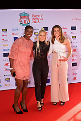 LIVERPOOL, ENGLAND - Thursday, May 10, 2018: Liverpool FC Ladies Satara Murray, Ali Johnson and xxxx arrives on the red carpet for the Liverpool FC Players' Awards 2018 at Anfield. (Pic by David Rawcliffe/Propaganda)