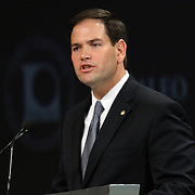 US Sen. Marco Rubio, R-Fla., speaks at the NALEO (National Association of Latino Elected and Appointed Officials) conference at the Disney Contemporary Resort Convention Center in Orlando, Fla. on Friday, June 22, 2012. (AP Photo/Alex Menendez) Marco Rubio speaks to NALEO members in Orlando, Florida.