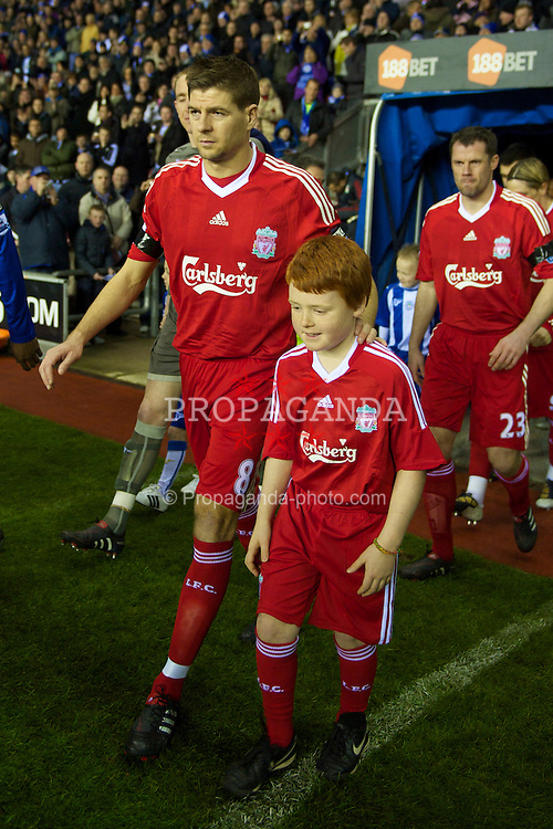 WIGAN, ENGLAND - Monday, March 8, 2010: Liverpool's captain Steven Gerrard MBE walks out to face Wigan Athletic during the Premiership match at the DW Stadium. (Photo by David Rawcliffe/Propaganda)