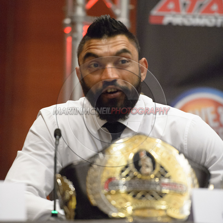 "LONDON, ENGLAND, APRIL 18, 2016: Liam McGeary is pictured during the event announcement press conference for ""Bellator 158: Slice vs. Thompson"" inside the Four Seasons Hotel in Park Lane, London (© Martin McNeil)"