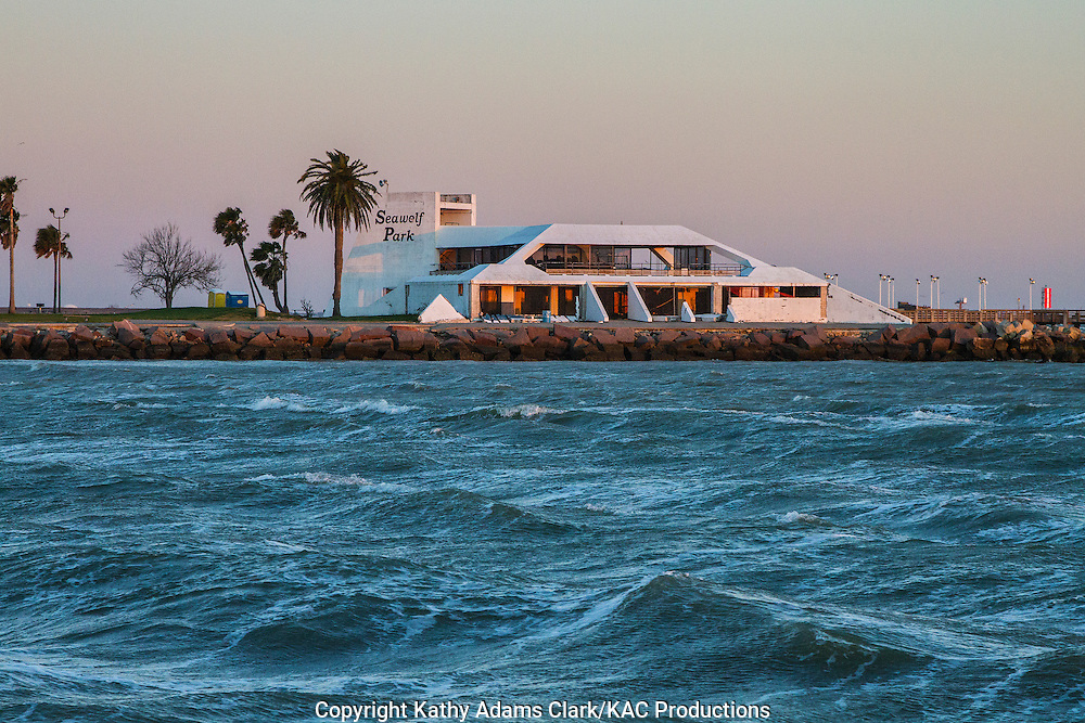 Seawolf Park viewed from ferry in Galveston, Texas.