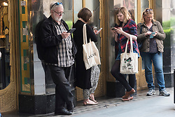 © Licensed to London News Pictures. 12/05/2016. Members of the public queuing outside the Savoy theatre waiting for the box office to open. Announcement of actress SHERIDAN SMITH absent from stage play Funny Girl playing the lead role of Fanny Brice due to indisposition London, UK. Photo credit: Ray Tang/LNP