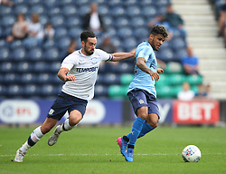 Greg Cunningham of Preston North End (L) and Rolando Aarons of Newcastle United in action - Mandatory by-line: Jack Phillips/JMP - 22/07/2017 - FOOTBALL - Deepdale - Preston, England - Preston North End v Newcastle United - Pre-Season Club Friendly