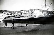 large transatlantic passengers ship in the harbor France ca 1930s