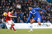 Gillingham forward Dominic Samuel in action during the Sky Bet League 1 match between Gillingham and Swindon Town at the MEMS Priestfield Stadium, Gillingham, England on 6 February 2016. Photo by David Charbit.