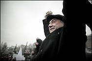"""Thousands of opposition protesters have gathered in Tbilisi, Georgia on 06 January, 2008, alleging vote-rigging. Opposition leader Levan Gachechiladze (pictured)- the most prominent of the five other presidential candidates told the crowd in Tbilisi: """"We face terror and will defend our vote by legal means."""" Early results suggest President Mikhail Saakashvili won, but it is unclear if he did well enough to avoid a run-off. But opposition leader Levan Gachechiladze said the exit polls had been """"falsified"""". They suggested President Saakashvili won more than 53% of the vote and Mr Gachechiladze 28%."""