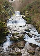 Hoar Oak Water river waterfall at Watersmeet, Lyn Valley, near Lynmouth, Exmoor national park, Devon, England