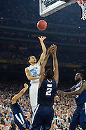 04 APR 2016: Guard Marcus Paige (5) of the University of North Carolina shoots over Forward Kris Jenkins (2) of Villanova University during the 2016 NCAA Men's Division I Basketball Final Four Championship game held at NRG Stadium in Houston, TX. Villanova defeated North Carolina 77-74 to win the national title. Brett Wilhelm/NCAA Photos