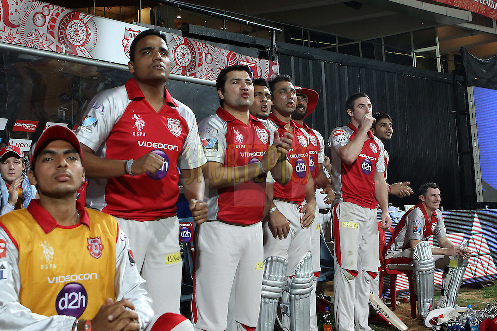 The Kings XI bench react during the final overs during match 44 of the the Indian Premier League ( IPL) 2012  between The Royal Challengers Bangalore and the Kings XI Punjab held at the M. Chinnaswamy Stadium, Bengaluru on the 2nd May 2012..Photo by Ron Gaunt/IPL/SPORTZPICS