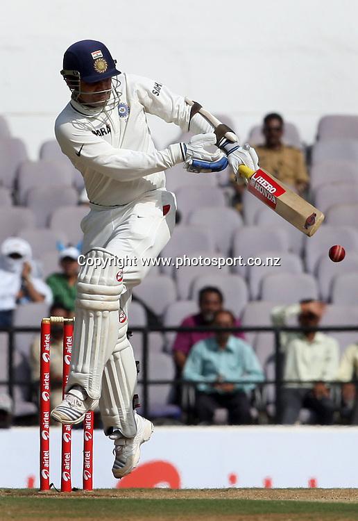 Indian batsman Virender Sehwag Plays a shot against New Zealand during The India vs New Zealand 3rd test match day-2 Played at Vidarbha Cricket Association Stadium, Jamtha, Nagpur, 21, November 2010 (5-day match)