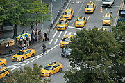 A large group of taxis drive into Columbus Circle, Manhattan, NYC.