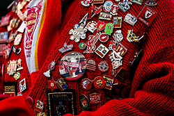 A Liverpool fan wears an array of badges on a red cardigan - Mandatory by-line: Robbie Stephenson/JMP - 02/12/2018 - FOOTBALL - Anfield - Liverpool, England - Liverpool v Everton - Premier League