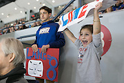 Helana Gianvecchio, 5, and Tommy Baxter cheer for their cousin, Springfield's Phil Lane, a Greece native, during a game against the Amerks at the Blue Cross Arena in Rochester on Friday, March 4, 2016.