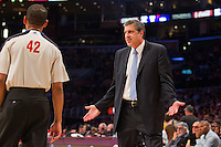 22 March 2013: Head coach Randy Wittman of the Washington Wizards argues with an NBA official and gets called for a technical foul during the Wizards 103-100 victory over the Lakers at the STAPLES Center in Los Angeles, CA.