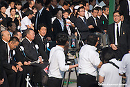 Japan, Hiroshima : HIROSHIMA, JAPAN - AUGUST 06: Japanese Prime Minister Shinzo Abe during  the 70th anniversary ceremony of the atomic bombing of Hiroshima at the Hiroshima Peace Memorial Park on August 6, 2015 in Hiroshima, Japan. Japan marks the 70th anniversary of the first atomic bomb that was dropped by the United States on Hiroshima on August 6, 1945. The bomb instantly killed an estimated 70,000 people and thousands more in coming years from radiation effects. Three days later the United States dropped a second atomic bomb on Nagasaki which ended World War II.