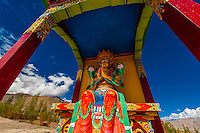 A statue of Chamspa, the Compassionate One, a Maitreya (Future Buddha), Stok Monastery, Leh Valley, Ladakh, Jammu and Kashmir State, India.