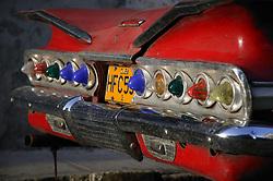Row of lights on rear of old American car in Havana; Cuba,