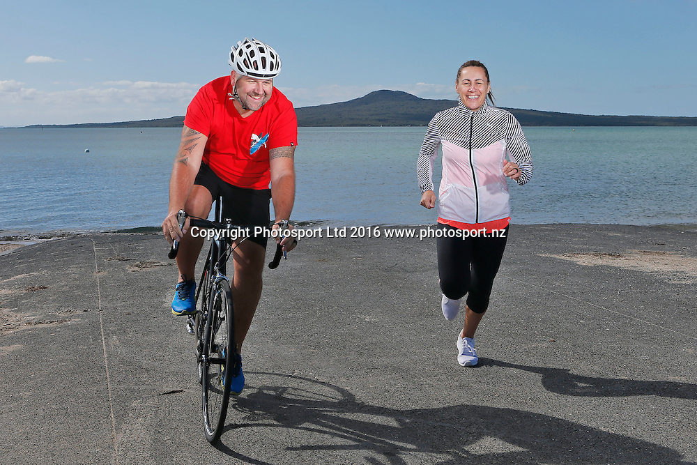 Dean and Jenny-May Clarkson during a photoshoot for the World Masters Games 2017. WMG 2017. St Heliers Beach, Auckland. 13 October 2016. Copyright Image: William Booth / www.photosport.nz
