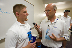 26 May 2007: Duke Blue Devils defenseman Nick O'Hara (77) talks with media in the locker room after a 12-11 win over the Cornell Big Red in the NCAA Semifinals at M&T Bank Stadium in Baltimore, MD.