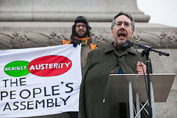 London, UK. 12th January, 2019. John Rees of the People's Assembly Against Austerity addresses hundreds of protesters taking part in a 'Britain is Broken: General Election Now' demonstration. Organisers argued that the overriding objective of working people in the UK should be to remove the Conservative Government from power through a general election regardless of their vote in the EU referendum.