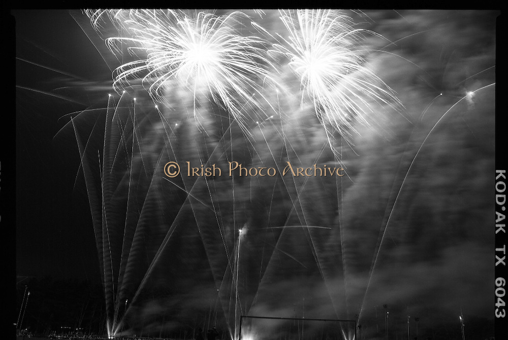 "Fireworks In The Park.  (R79)..1988..09.05.1988..05.09.1988..9th May 1988..As part of the ""Dublins' Great In 88"" millennium celebrations a fireworks display was held in the 15 acres area of the Phoenix Park tonight. the event was sponsored by the EEC Office,Dublin...Image shows the fireworks exploding in the air above the Phoenix Park in what was a stunning display."