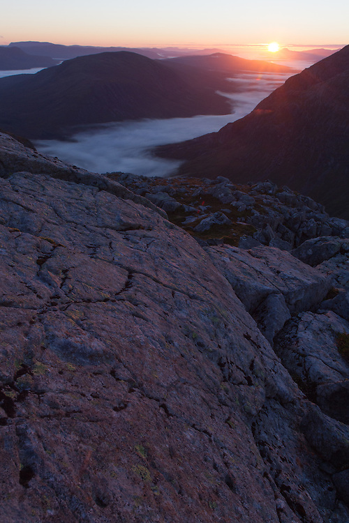 Sunrise over Glencoe and Buchaille Etive Mor from Stob Coire Raineach