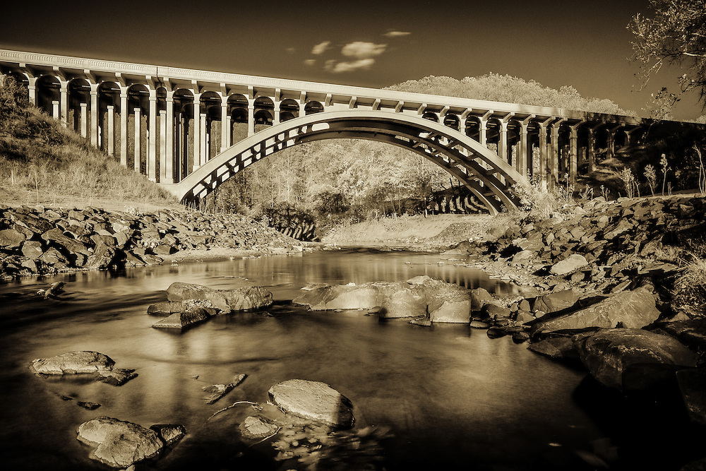 The Route 40 Bridge and Patapsco River upstream from Oella, Maryland. An IR photograph.