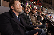 VANCOUVER, BC - MARCH 2: (L-R) Sean Maguire, Colin O'Donoghue and Jared Gilmore, Once Upon a Time cast members watch the 2014 Tim Hortons Heritage Classic game between the Ottawa Senators and the Vancouver Canucks at BC Place on March 2, 2014 in Vancouver, B.C., Canada.  (Photo by Kevin Light/NHLI via Getty Images)