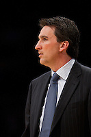 25 February 2011: Head coach Vinny Del Negro of the Los Angeles Clippers coaches against the Los Angeles Lakers during the Lakers 108-95 victory over the Clippers at the STAPLES Center in Los Angeles, CA.