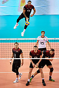 Poland, Krakow - 2017 September 03: Georg Grozer from Germany serves the ball while final match between Germany and Russia  during Lotto Eurovolleyball Poland 2017 - European Championships in volleyball at Tauron Arena on September 03, 2017 in Krakow, Poland.<br /> <br /> Mandatory credit:<br /> Photo by &copy; Adam Nurkiewicz<br /> <br /> Adam Nurkiewicz declares that he has no rights to the image of people at the photographs of his authorship.<br /> <br /> Picture also available in RAW (NEF) or TIFF format on special request.<br /> <br /> Any editorial, commercial or promotional use requires written permission from the author of image.