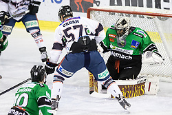 14.12.2014, Hala Tivoli, Ljubljana, SLO, EBEL, HDD Telemach Olimpija Ljubljana vs Fehervar AV19, 27. Runde, in picture Attila Orban (Fehervar AV19, #57) vs Andy Chiodo (HDD Telemach Olimpija, #40) during the Erste Bank Icehockey League 27. Round between HDD Telemach Olimpija Ljubljana and Fehervar AV19 at the Hala Tivoli, Ljubljana, Slovenia on 2014/12/14. Photo by Matic Klansek Velej / Sportida