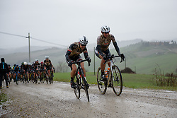 Ruth Winder and Chantal Blaak at Strade Bianche - Elite Women 2018 - a 136 km road race on March 3, 2018, starting and finishing in Siena, Italy. (Photo by Sean Robinson/Velofocus.com)