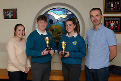 Sancta Maria College Awards 2018<br />Accecpting the senior Sports Awards Dylan Prendergast and Sarah O Malley from Michelle McGing and Cormac McCarthy.<br />Pic Conor McKeown