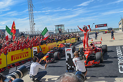 October 21, 2018 - Austin, TX, U.S. - AUSTIN, TX - OCTOBER 21: Ferrari driver Kimi Raikkonen (7) of Finland greets his cheering teammates and fans following the F1 United States Grand Prix on October 21, 2018, at Circuit of the Americas in Austin, TX. (Photo by Ken Murray/Icon Sportswire) (Credit Image: © Ken Murray/Icon SMI via ZUMA Press)